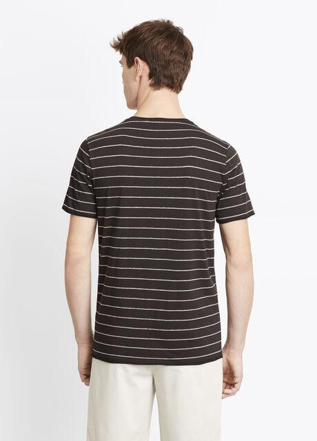 Shadow Striped Cotton Modal Crew Neck Tee