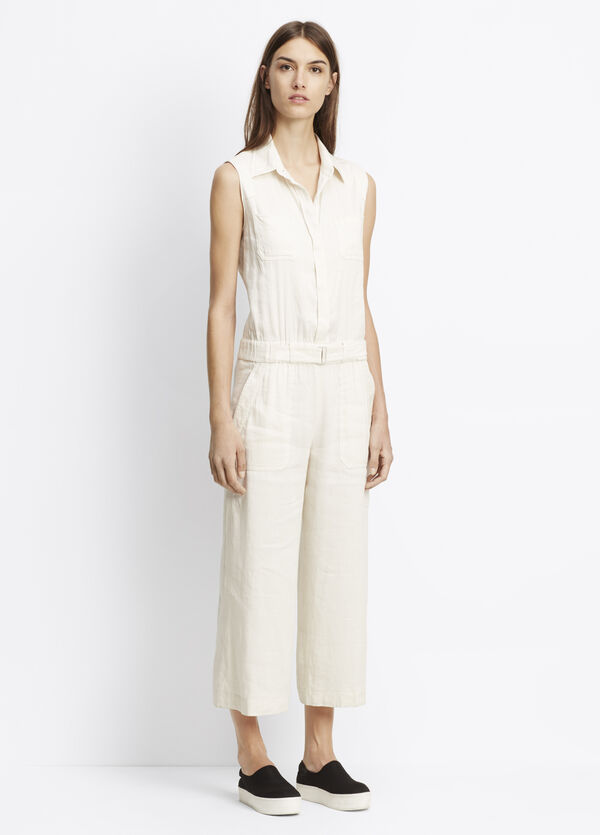Linen Blend Belted Culotte Jumpsuit