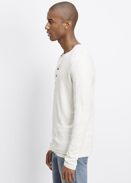 Linen Double Layer Long Sleeve Henley