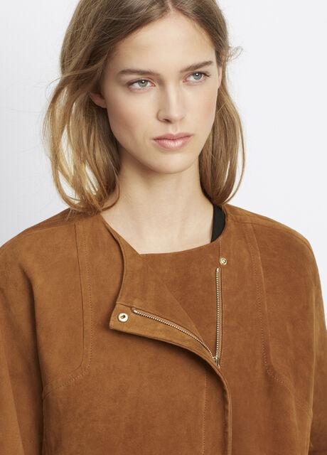 Nubuck Collarless Jacket With Dolman Sleeves