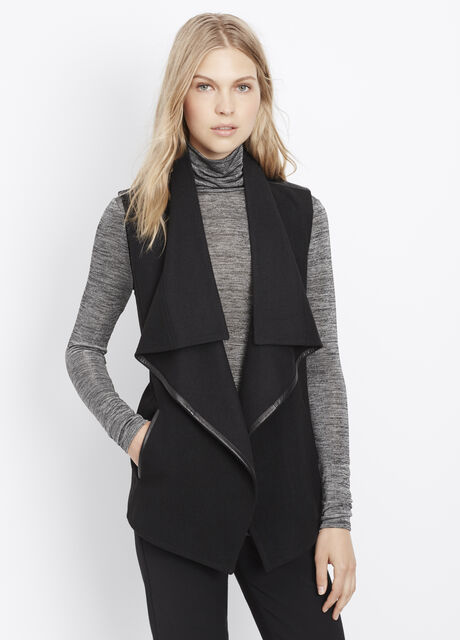 Wool Blend Drape Neck Vest With Leather Trim
