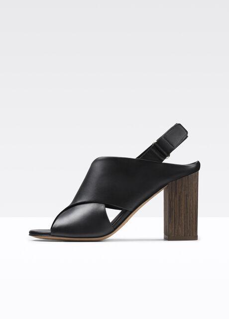 Faine Leather Peep-Toe Sandal