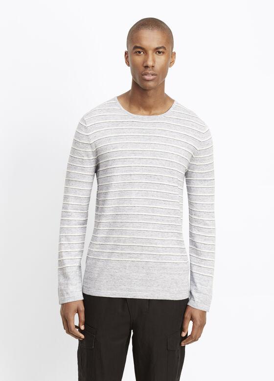 Sporty Jaspé Striped Crew Neck Sweater