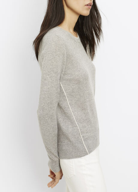 Cashmere Crew Neck Sweater With Contrast Tipping