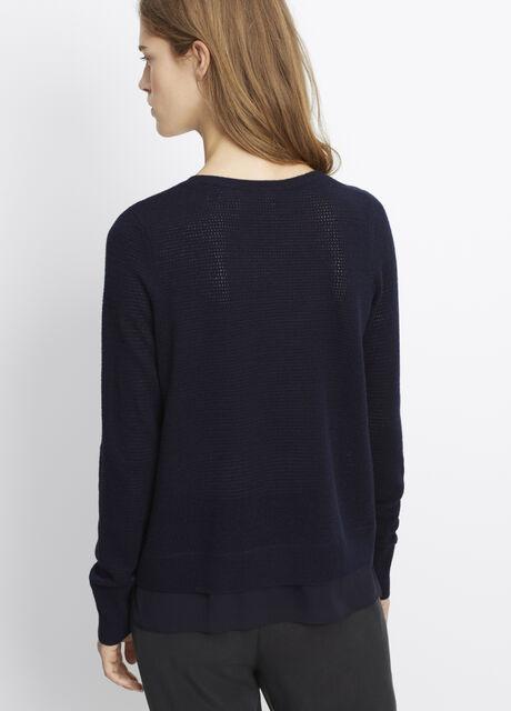 Mixed Media Pointelle Sweater