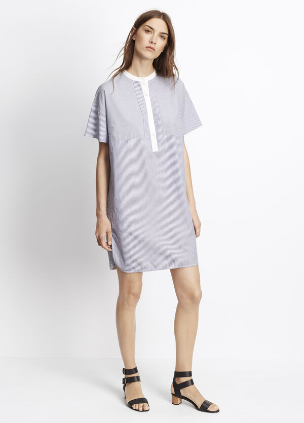 Poplin Stripe Blocked Shirt Dress
