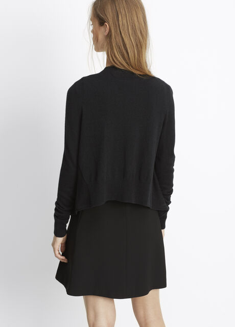 Cashmere Drape Front Cropped Cardigan