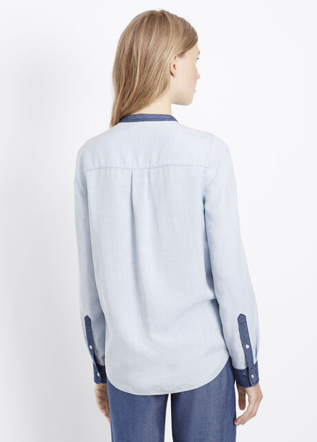 Chambray Colorblock Collarless Half Placket Button Up