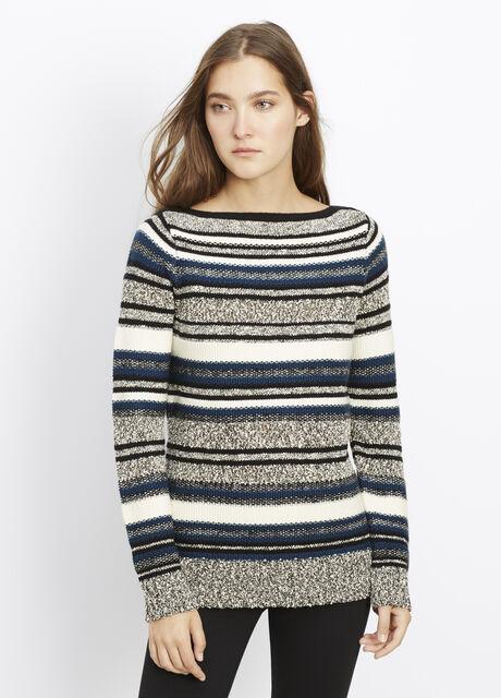 Texture-Striped Slim Boatneck Sweater