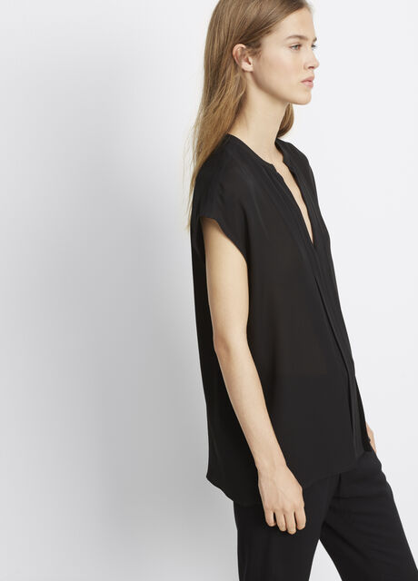 Double Georgette Pintuck Popover Blouse
