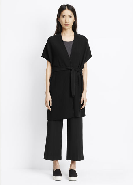 Wool Cashmere Texture Stitched Sleeveless Long Cardigan With Belt