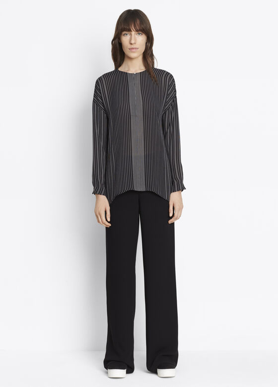 Striped Covered Placket Blouse