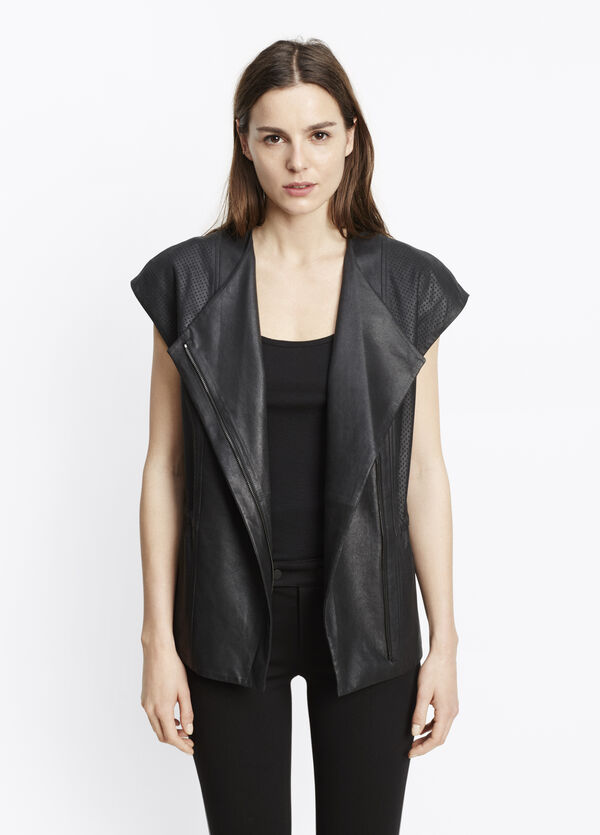 Perforated Lamb Leather Cap Sleeve Vest
