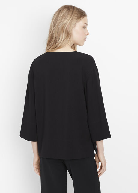 Textured Crepe Three-Quarter Sleeve Top