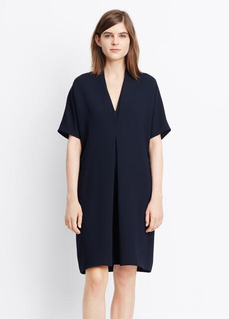 Crepe Elbow Sleeve Double V Dress