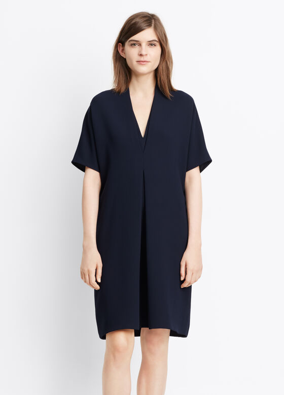 Crepe Elbow Sleeve Double V Dress