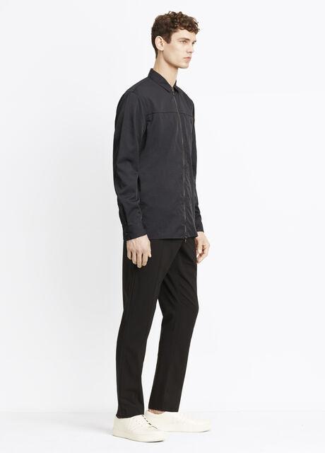 Nylon Twill Zip Front Overshirt