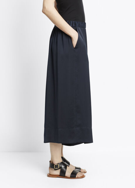 Washed Satin Pull-On Culotte