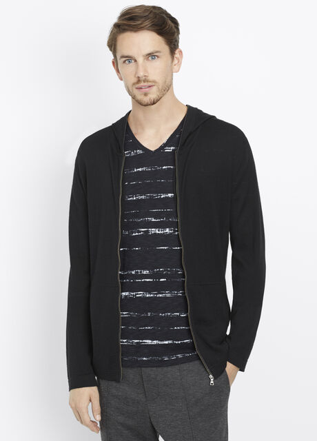 Wool Silk Zip-Up Hoodie With Leather Trim