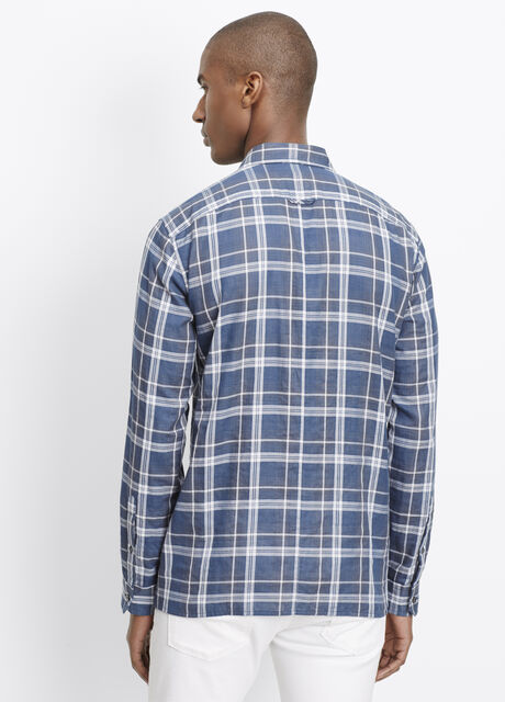 Melrose Double Plaid Button Up With Square Hem