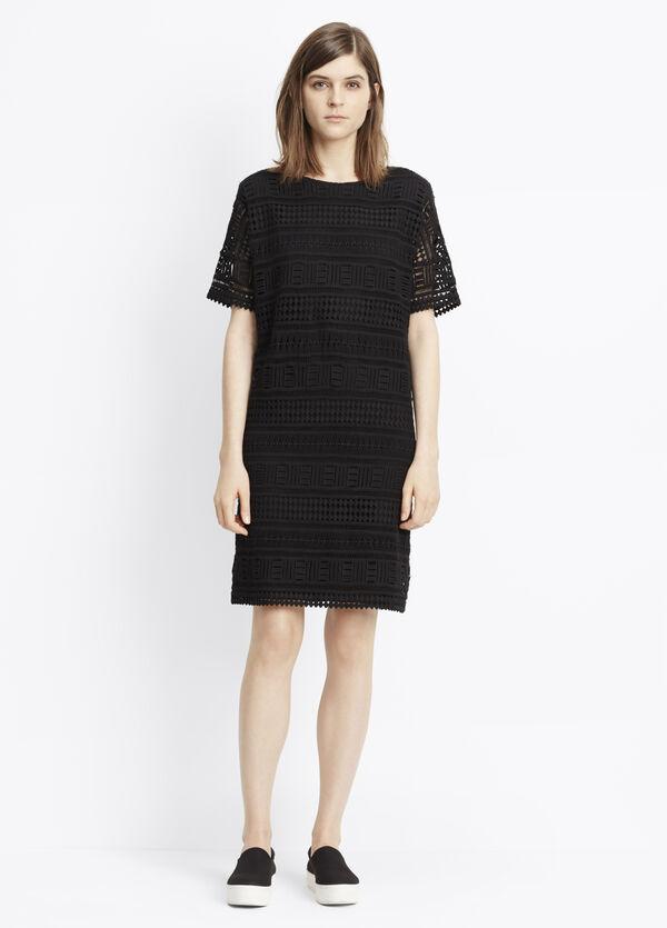 Geo Lace Overlay Shift Dress
