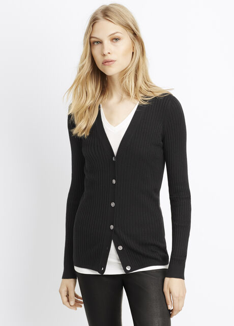 Skinny Rib Cardigan Sweater