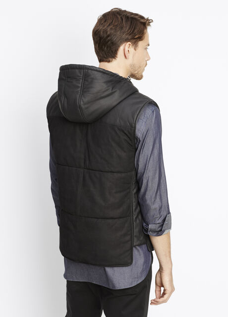 Leather Pieced Nubuck Vest With Hood