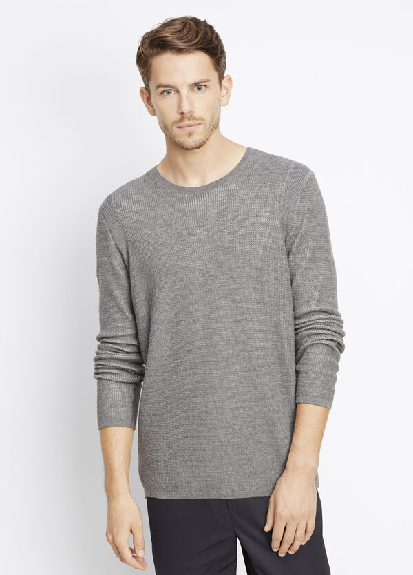 Sporty Jaspé Thermal Crew Neck Sweater