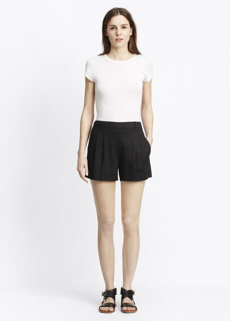 Linen Pleated Pull-On Shorts