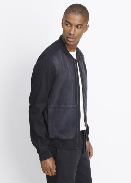 Linen Bomber Jacket With Suede Front