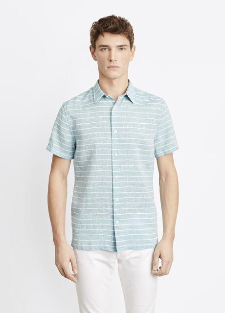 Striped Linen Short Sleeve Button Up