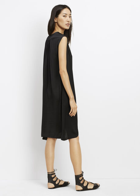 Silk Shirred Shoulder Cap Sleeve Dress