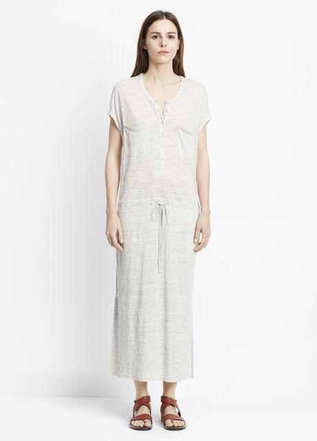 Linen Henley Dress With Drawstring Waist
