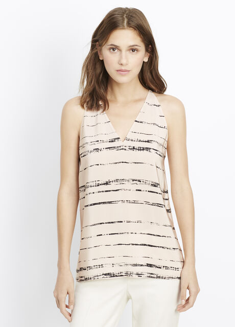 Silk Shadow Stripe Print Racerback Cami