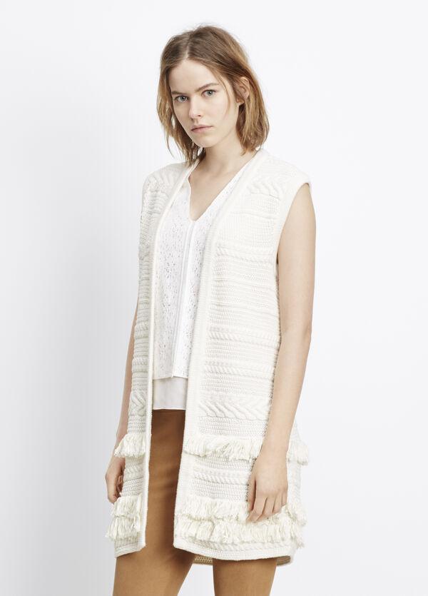 Sleeveless Fringe Trimmed Sweater Vest