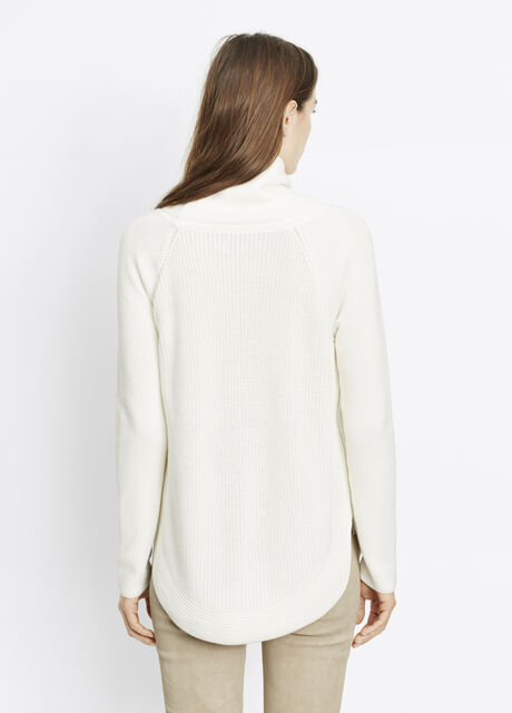 Cotton Ribbed Turtleneck With Side Zippers
