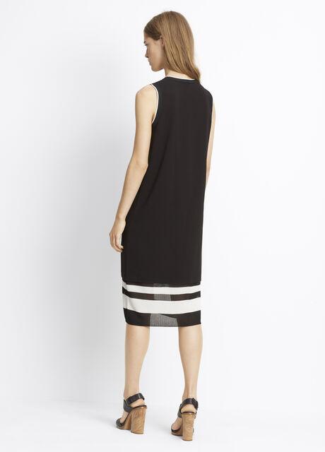Blocked Stripe Double Layer V-Neck Dress