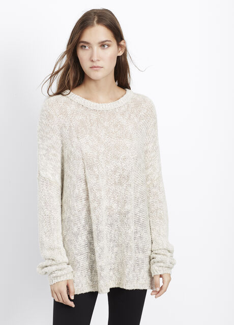 Tweed Knit Drop Shoulder Crew Neck Sweater