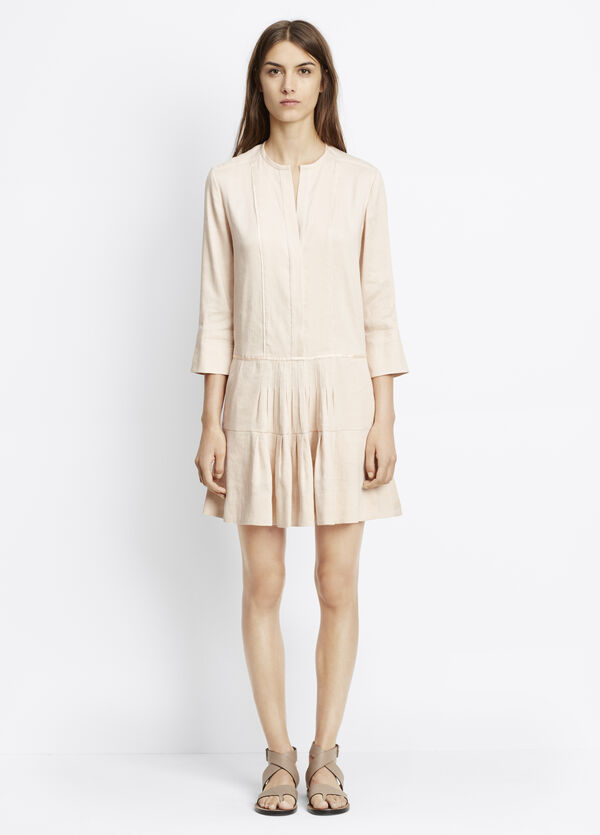 Dropped Waist Dress With Pleating
