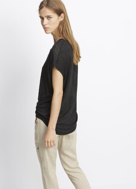 Linen Short Sleeve Cocoon Henley
