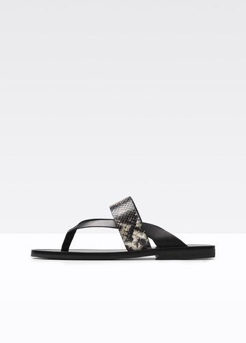 Tess Texture Blocked Leather Sandal