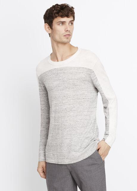 Sporty Jaspé Colorblock Crew Neck Sweater