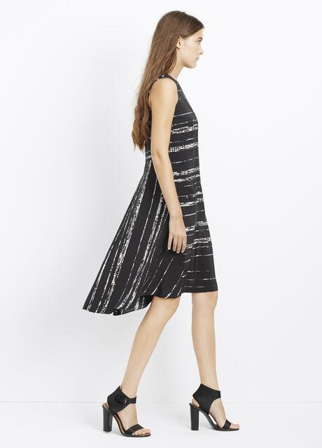Silk Shadow Stripe Double Layer Sleeveless Dress