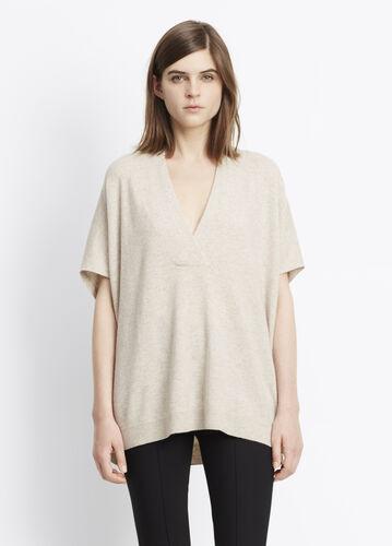 Short Sleeve Oversized Vee Sweater