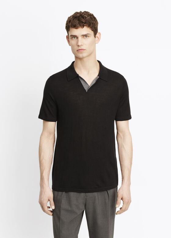 Wool Silk Jersey Polo With Contrast Tipping