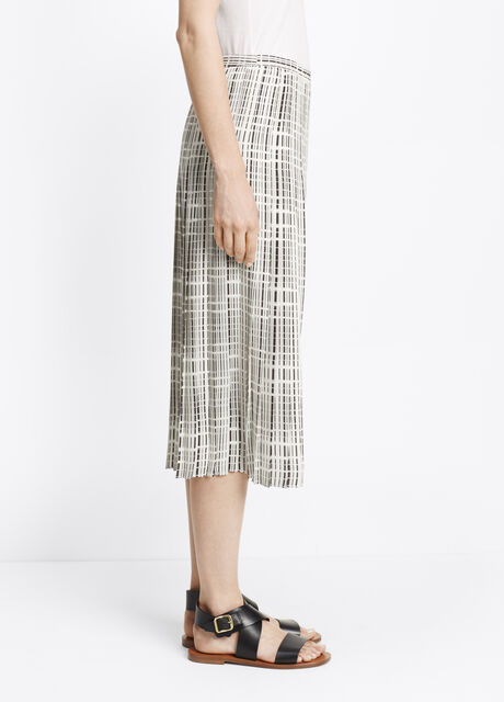 Interlace Print Pleated Skirt