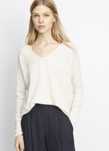 Cashmere Long Sleeve V-Neck Pullover Sweater