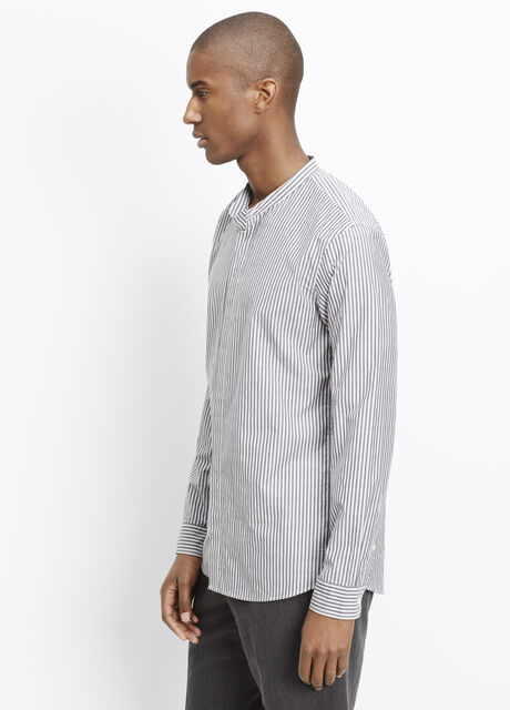 Bar Stripe Banded Collar Relaxed Button Up