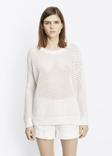Mesh Stitch Cotton Pullover Sweater