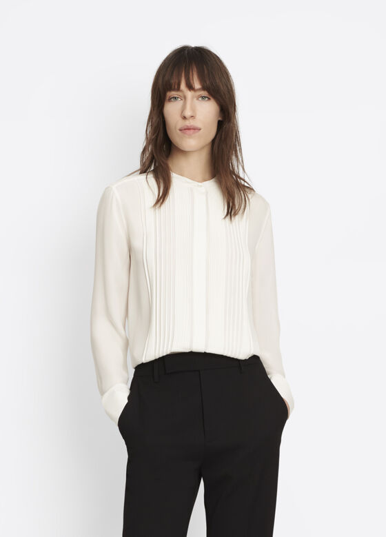 Mandarin Pleat Front Shirt